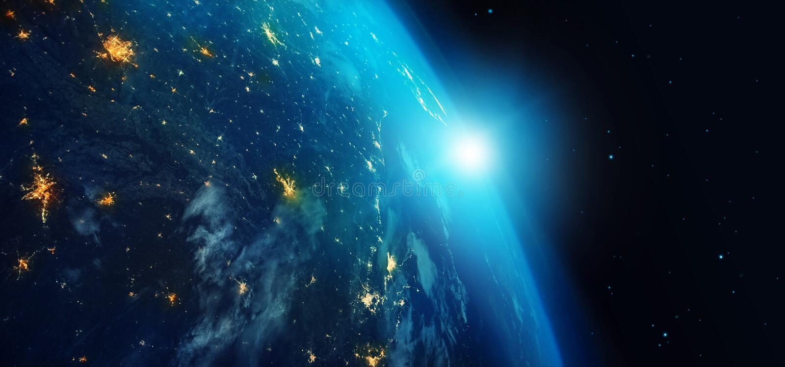 Earth from space at night with city lights and blue sunrise on stars background. 3d rendering. Elements of this image furnished by stock illustration