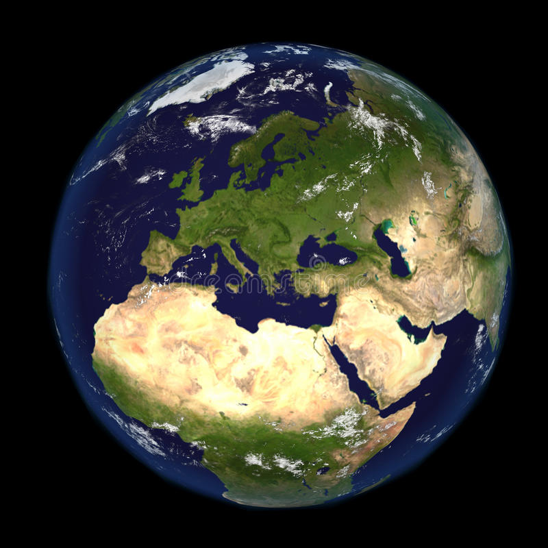 The Earth from space showing Europe and Africa 3d render illustration. Other orientations available. The Earth from space showing Europe and Africa 3d render royalty free illustration