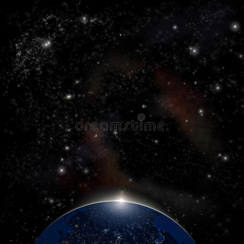 Download Earth From Space. Space Sunrise Background Stock Illustration - Image: 22159896