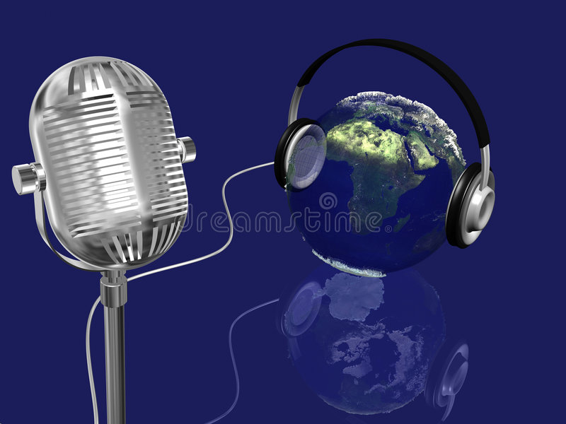 Earth sphere with headphones and retro mic,music concept royalty free stock images