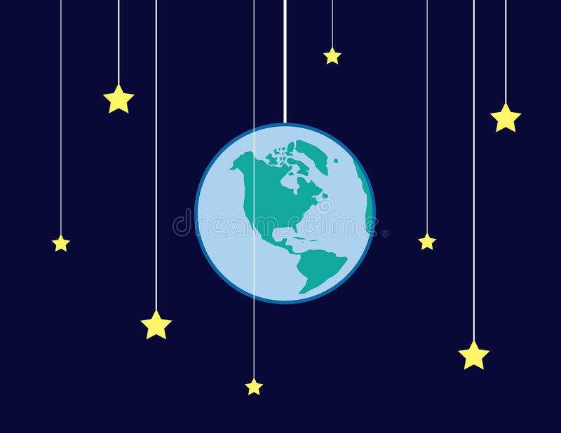 Earth Stars Strings. Earth and stars on strings stock illustration