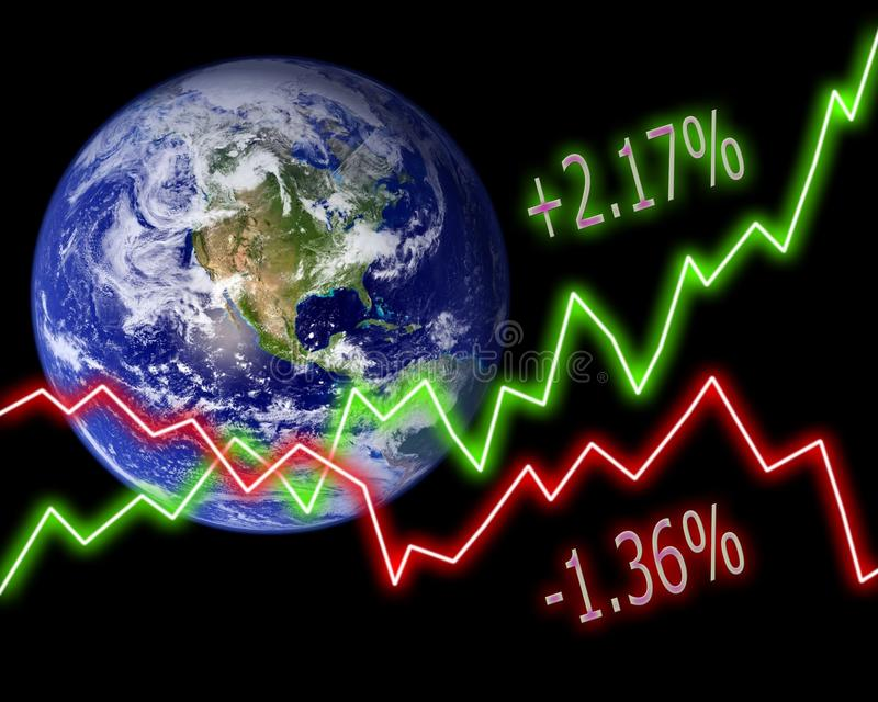 Earth Stock Market Numbers stock illustration