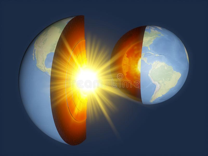 Earth structure, earth section, division into layers, the earth`s crust and core. stock illustration