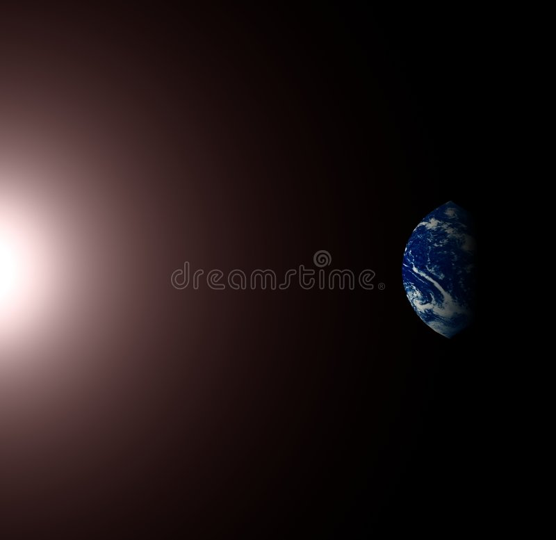 Earth and the sun royalty free stock photography