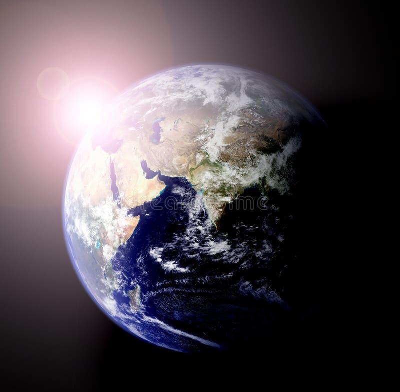 Earth and sun stock illustration
