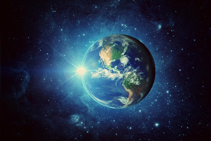 Earth, sun, galaxy and space. Elements of this image furnished by NASA royalty free stock images