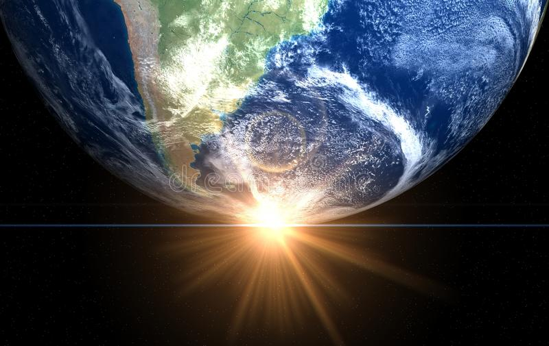 Earth and sun. Space sunrise America royalty free stock photos