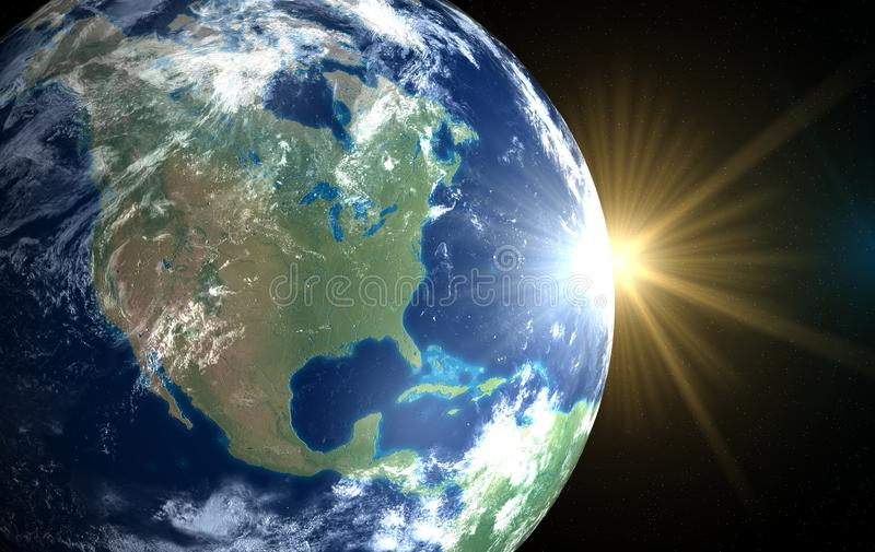 Earth and sun. Space sunrise America stock photography