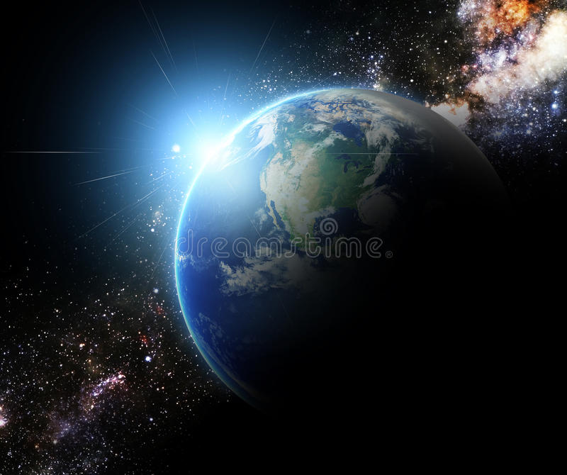 Earth and sunbeam in galaxy element finished by nasa. Earth and sunbeam in galaxy space element finished by nasa stock photo