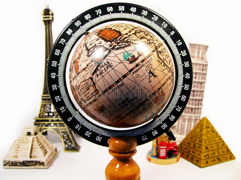 Earth surrounded by monuments. In the world royalty free stock photo