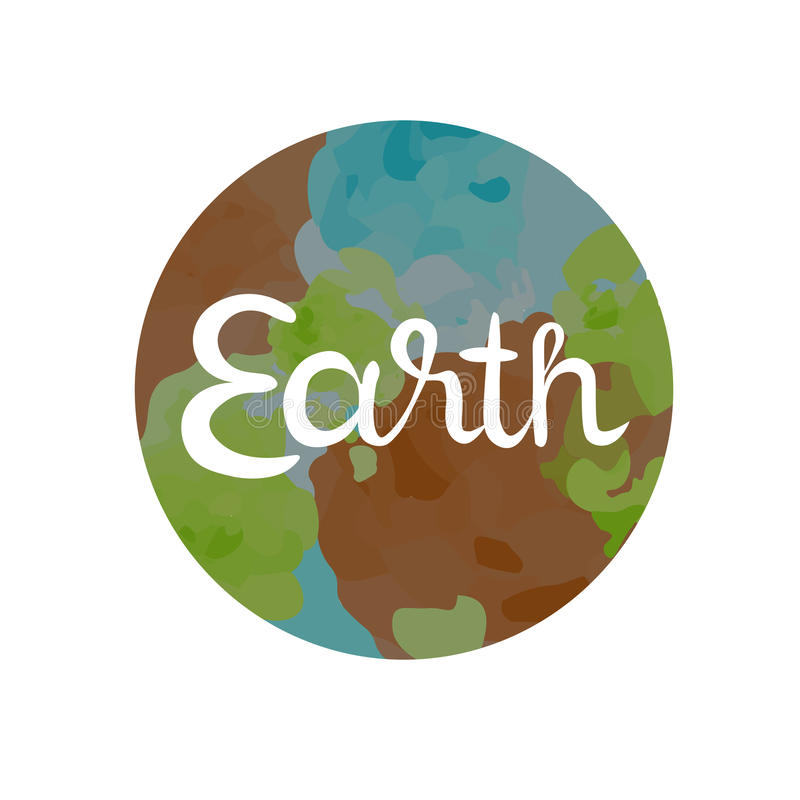 Earth symbol of the four elements. With lettering isolated on white vector illustration stock illustration