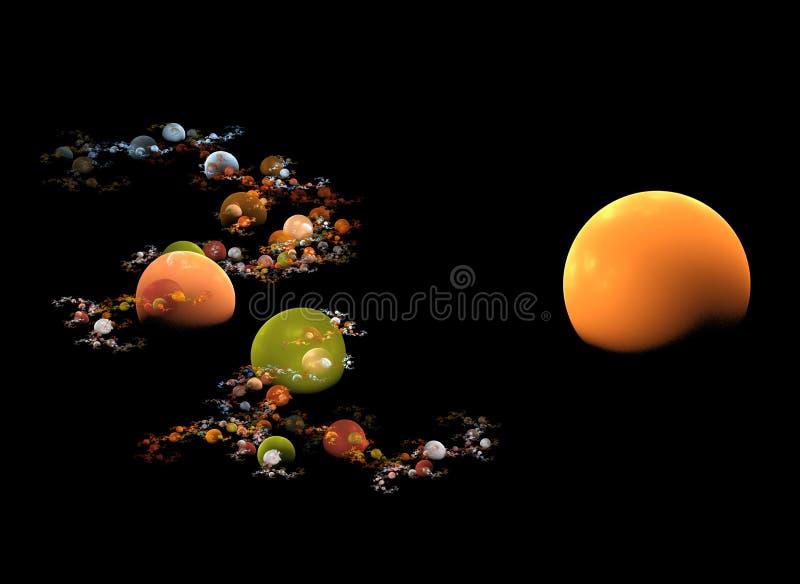 Earth tone planets stock illustration
