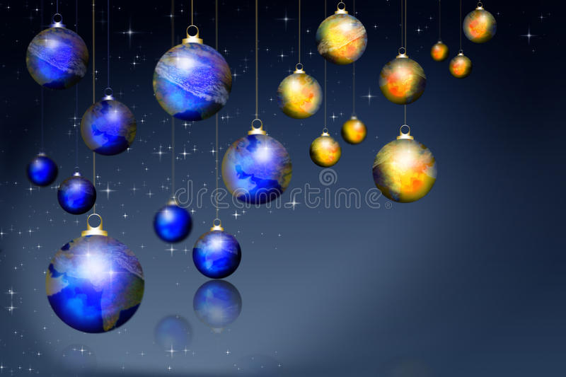 Earth transformed into suspended Christmas balls stock illustration