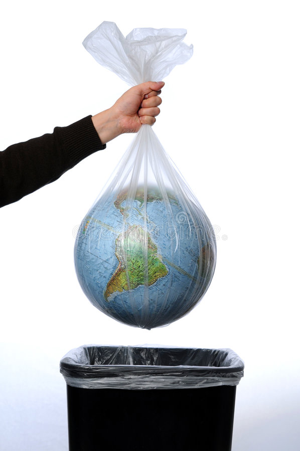 Earth in a Trash Bag royalty free stock photo