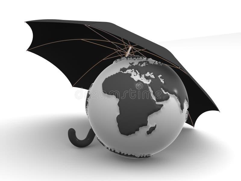 Earth with umbrella vector illustration