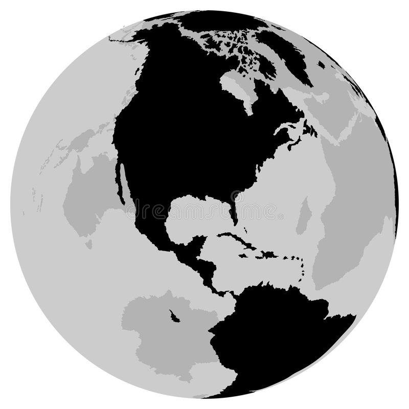 Earth US - Globe. With continents as black and white illustration - vector