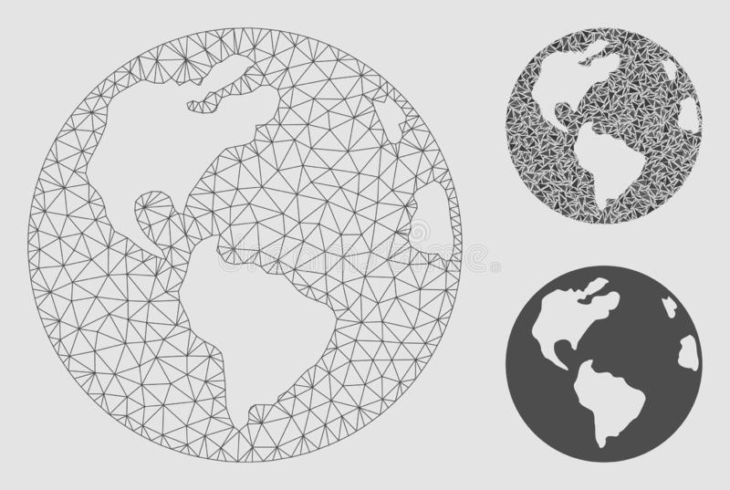 Earth Vector Mesh Carcass Model and Triangle Mosaic Icon stock illustration