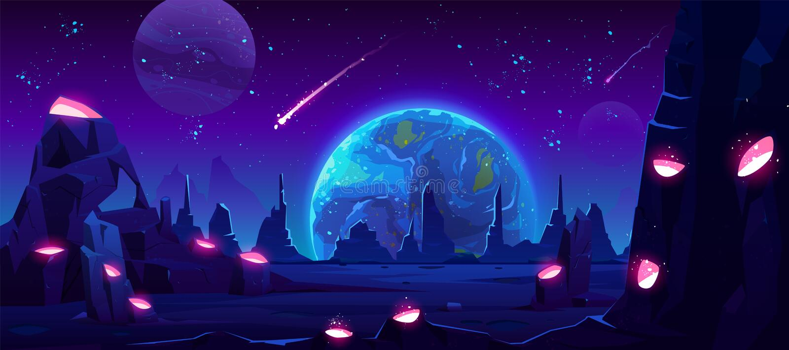 Earth view at night from alien planet, neon space stock illustration