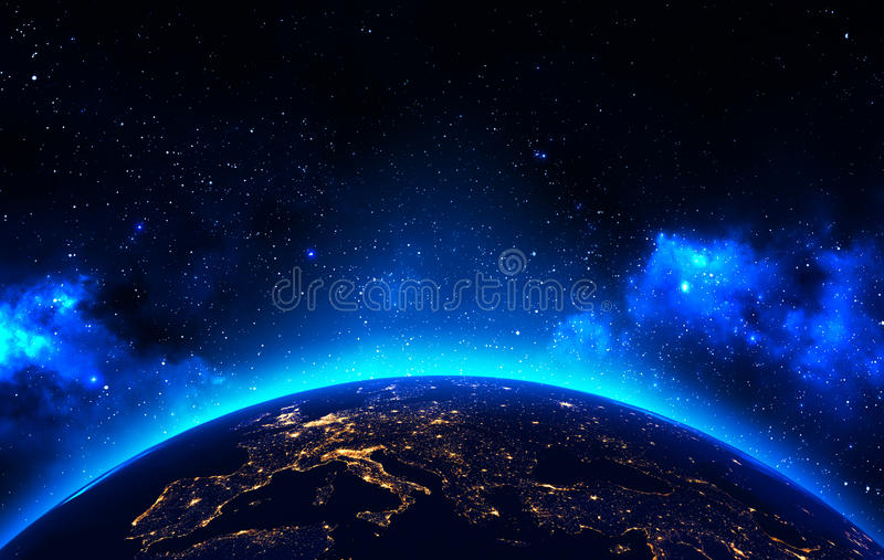 earth view from outer space background stock illustration