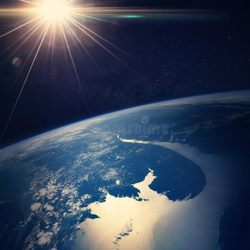 Earth view from space Elements of this image stock images