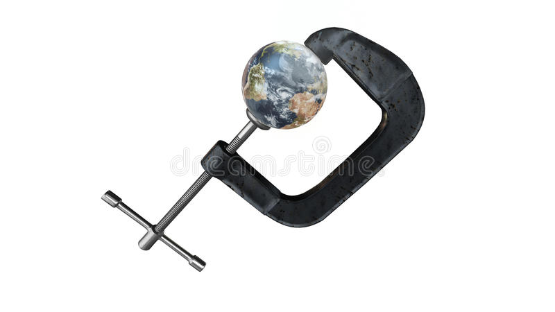 Earth in a vise grip - 3d Illustration isolated on white with matte included - elements of this image furnished by NASA. The planet earth being crushed in a vector illustration