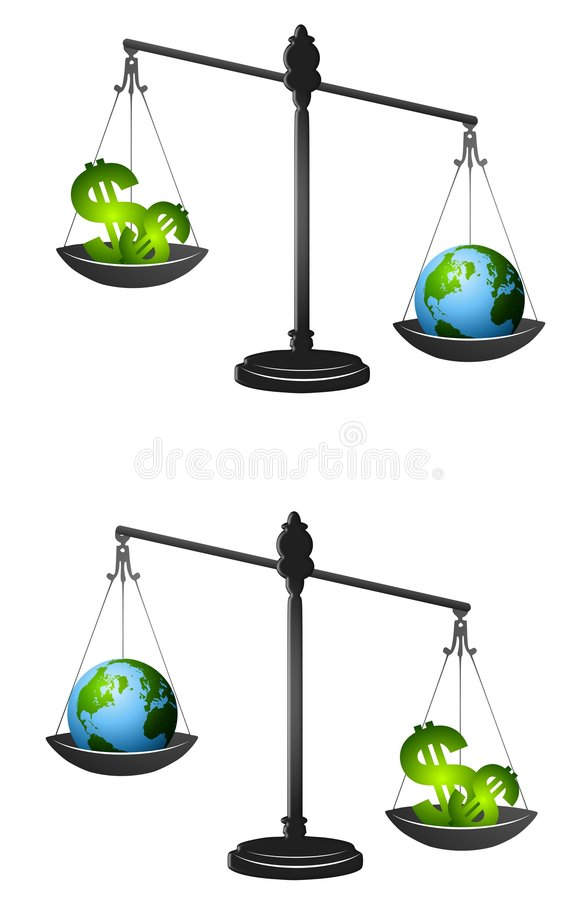Download Earth Vs. Profits Metaphor stock illustration. Illustration of comparing - 4570381