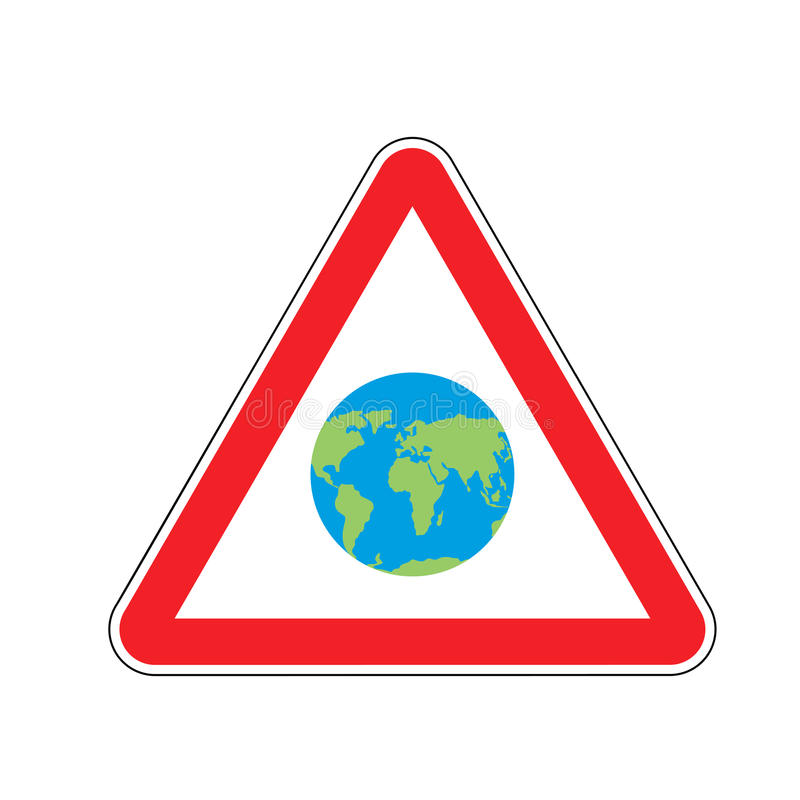Earth Warning Sign Red Planet Hazard Attention Symbol Danger R