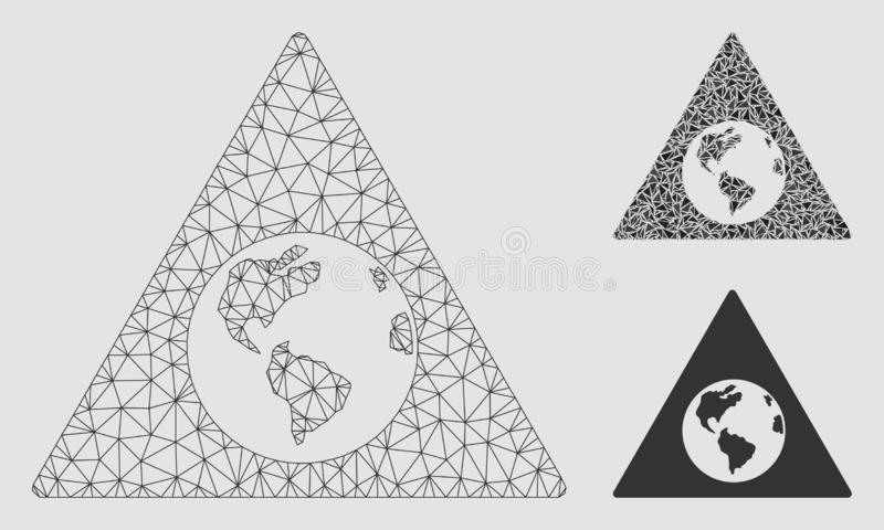 Earth Warning Vector Mesh Network Model and Triangle Mosaic Icon vector illustration