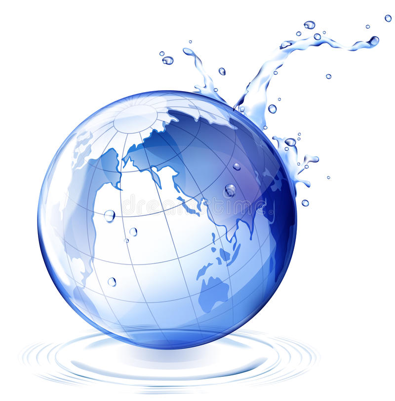 Earth and water drop stock illustration