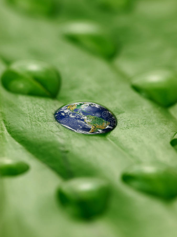 Earth in water drops on a leaf stock images