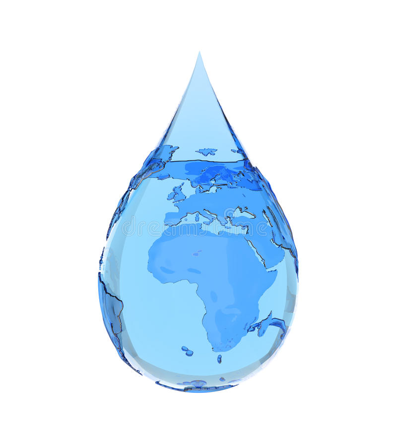 Earth water ecology. Earth water drop on white bacground stock illustration
