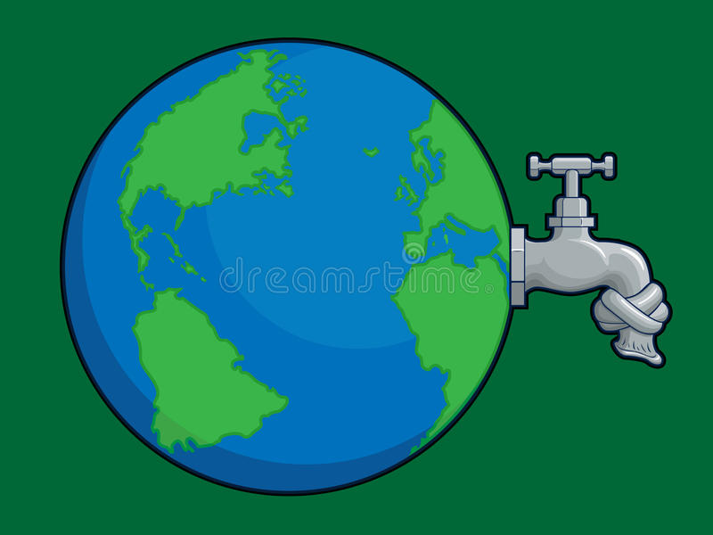 Earth Water Problem. A vector of a world globe with dried cork, as metaphor of the world water problem that increasing nowadays. Available as a Vector in EPS8 royalty free illustration