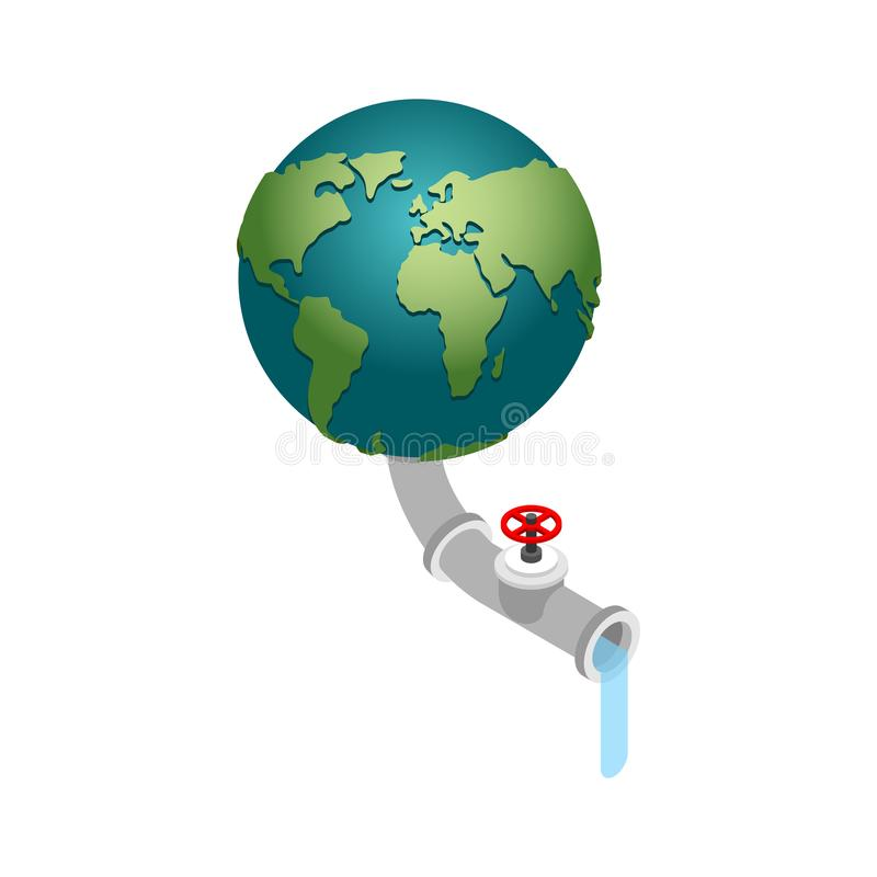 Earth and water tap isolated. Pumping water. Water resources and. The planet royalty free illustration