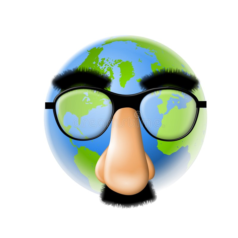 Earth Wearing Funny Face Mask. An illustration featuring the earth wearing a big funny face mask with bushy eyebrows, big nose and mustache. Symbolic of some of stock illustration