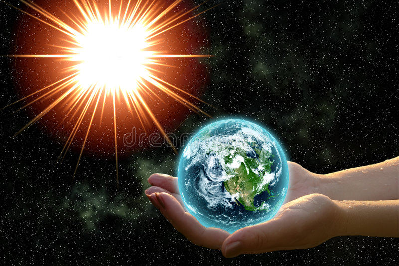 Earth in woman hands royalty free stock images