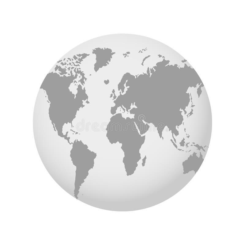 The Earth, World Map on gray background. Globe. Vector illustration stock illustration