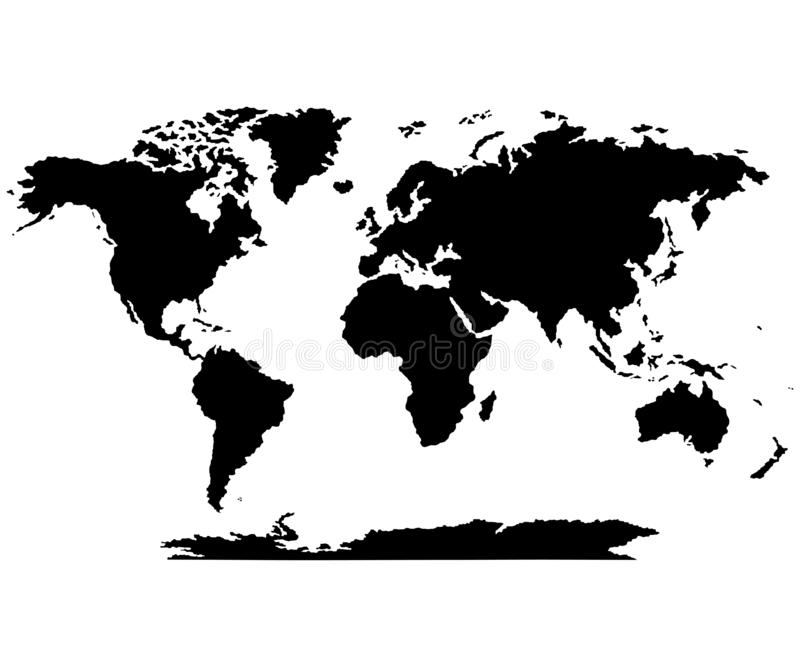 The Earth, World Map on white background. Antarctica. Vector illustration royalty free illustration