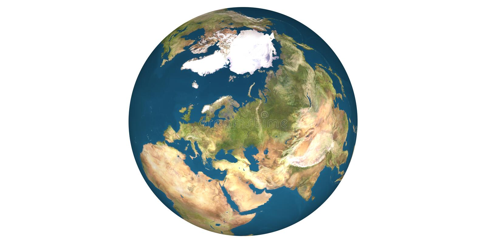 Earth world from space round white background. Blue planet water vector illustration