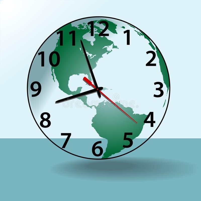 Earth world travel time clock globe vector illustration