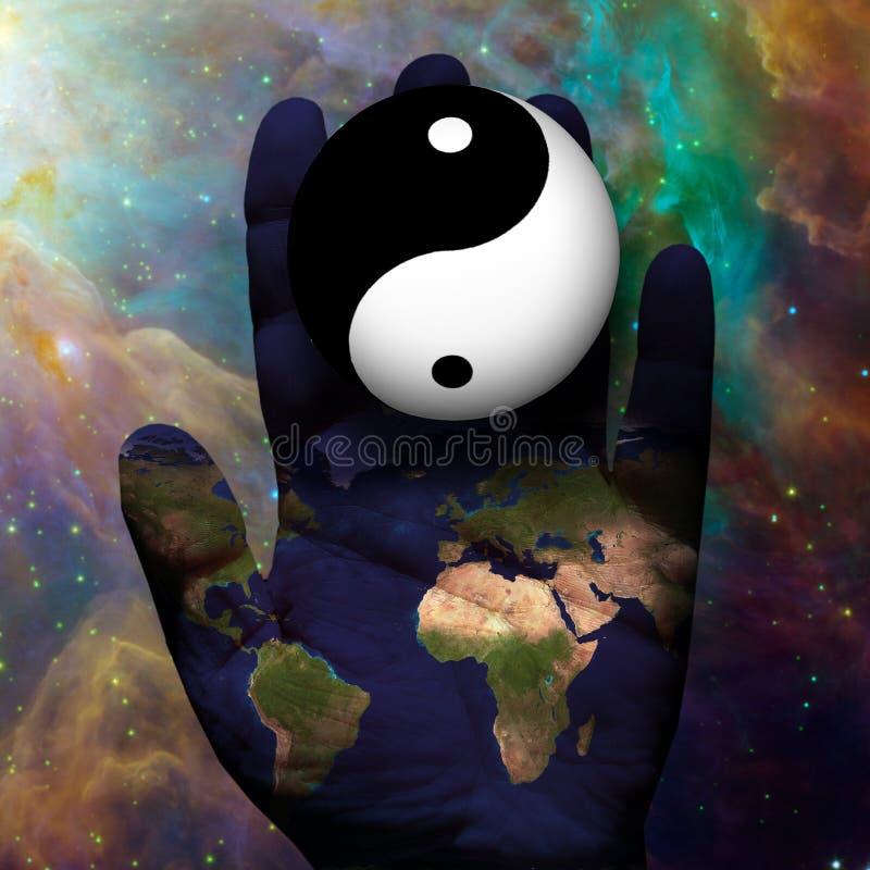 Earth Yin Yang. Hand with Earth Yin Yang vector illustration
