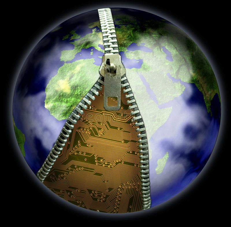 Earth and Zip. Earth with a zip, revealing electronics