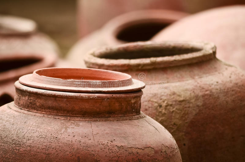 Earthen jars royalty free stock photo