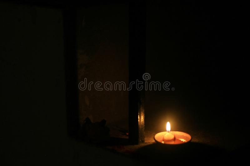 The earthen lamp brightens the night of Diwali. In Indian homes stock photography