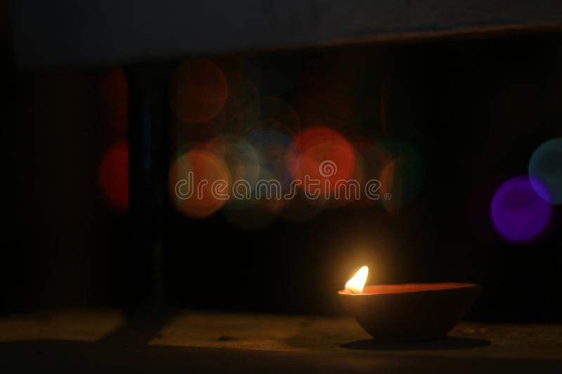 The earthen lamp brightens the night of Diwali stock photo