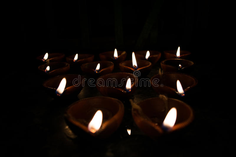 Earthen lamps diyas stock photography