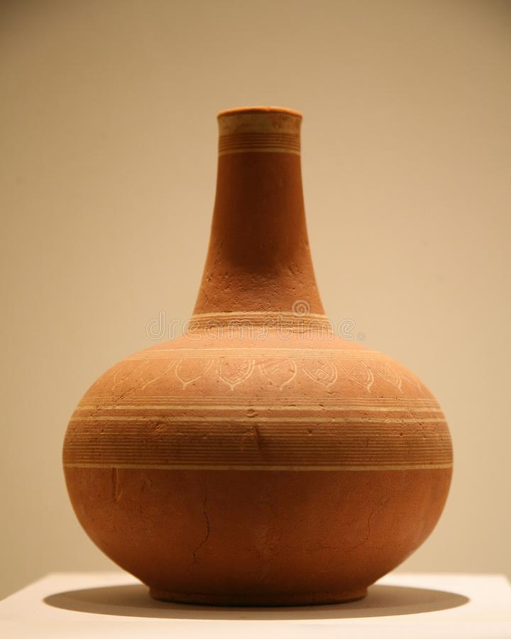 Earthenware vessel , Asian pottery container stock photography