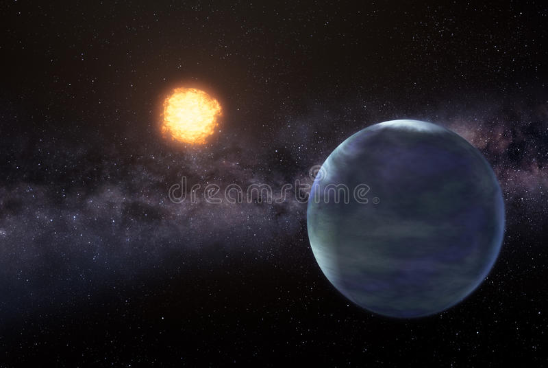 Earthlike planet in deep space stock illustration