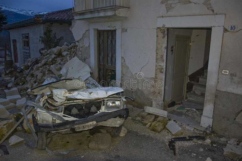Earthquake. Ruins at san gregorio, small village next to l'Aquila (Italy). after a year ruins are still there stock photos