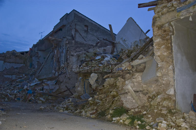 Earthquake. The detroyed village of San Gregorio, next to L'Aquila. a year after the earthquake in Italy. the ruins are still there royalty free stock image
