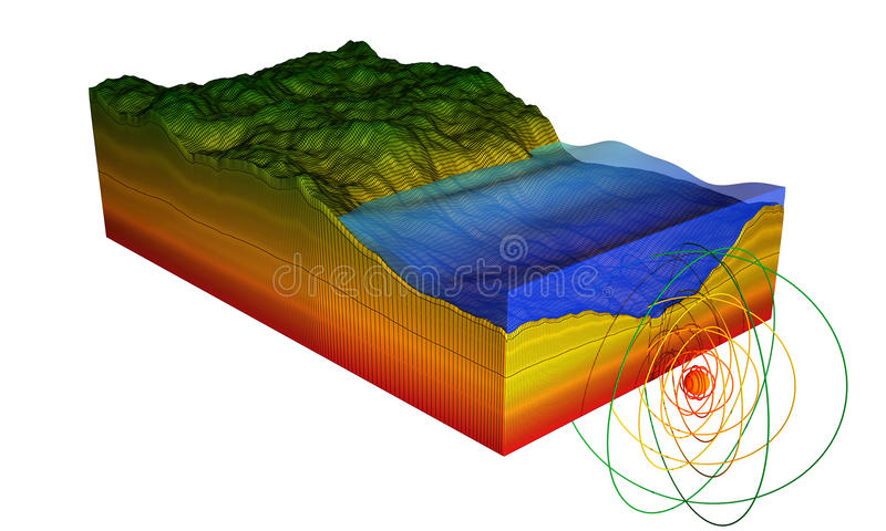 Earthquake. 3D illustration representing the epicenter of an underwater earthquake near the coast and building a tsunami. illustration is isolated on white